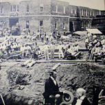 Dr. Kirkbride viewing the construction of his hospital building.